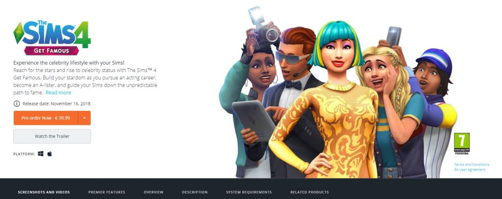 Sims 4: Get Famous pre order page