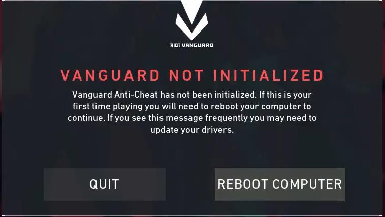 "Vanguard not initialized""."