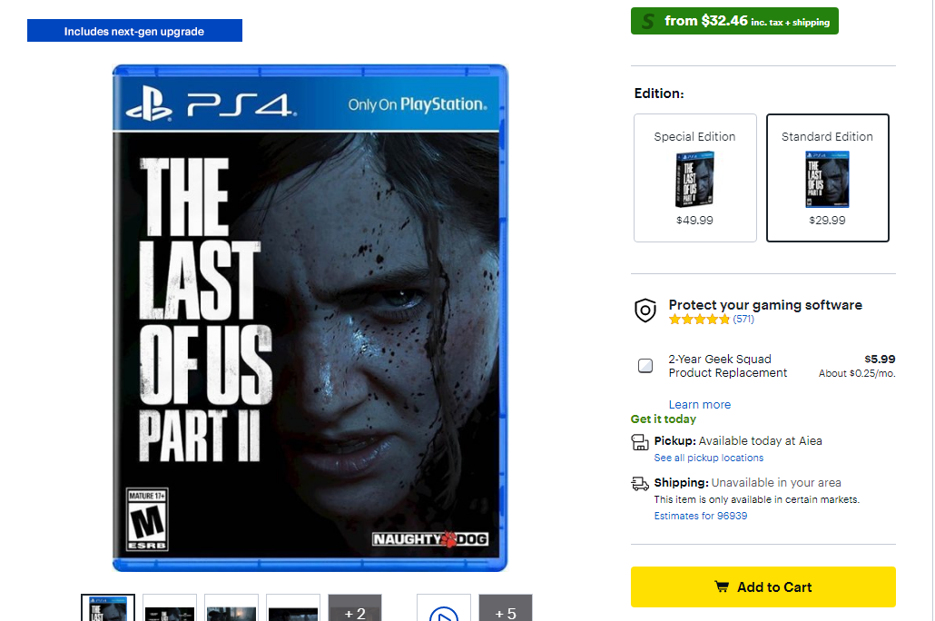 The Last of Us Part II on the Best Buy Sale