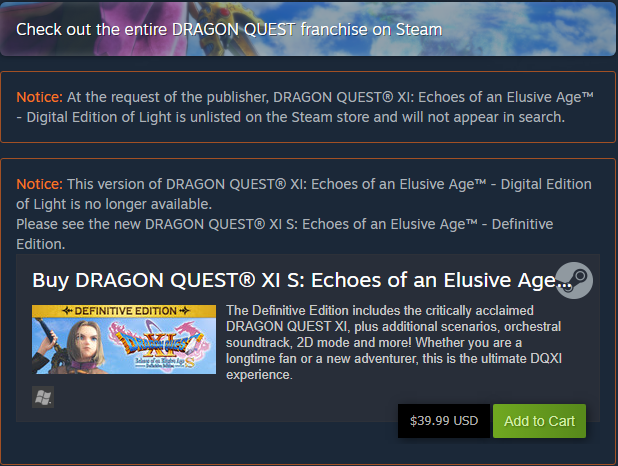 Dragon Quest XI Unlisted on Steam