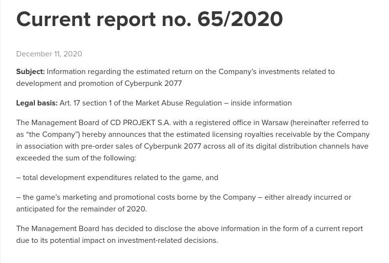 Cyberpunk 2077 Report