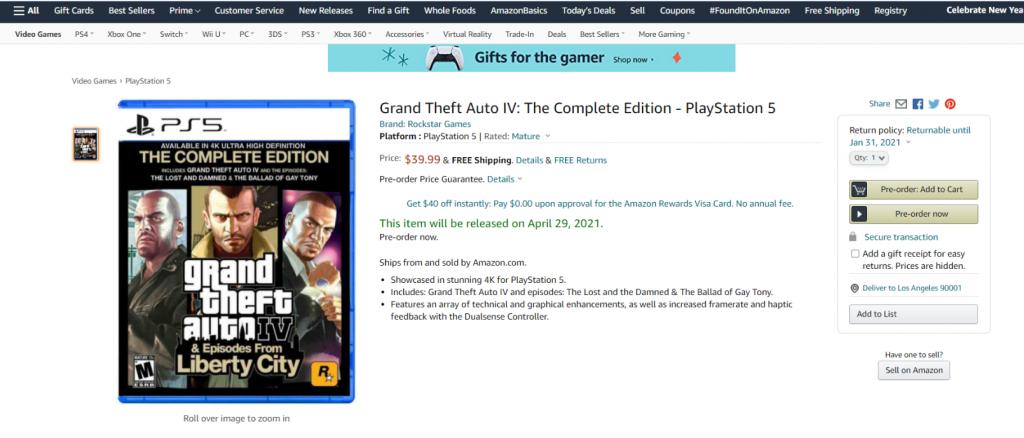 GTA 4 PS5