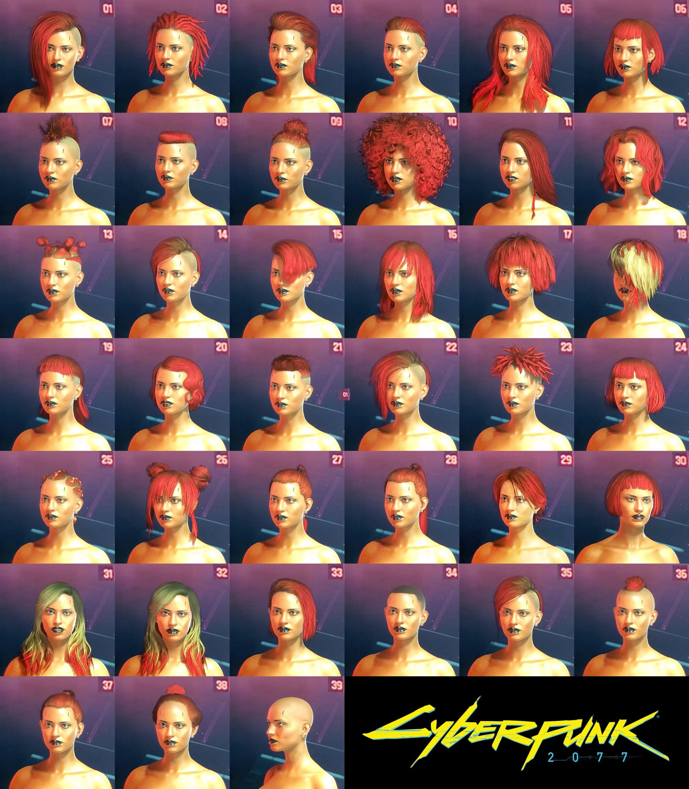 Cyberpunk 2077 Female Hairstyles