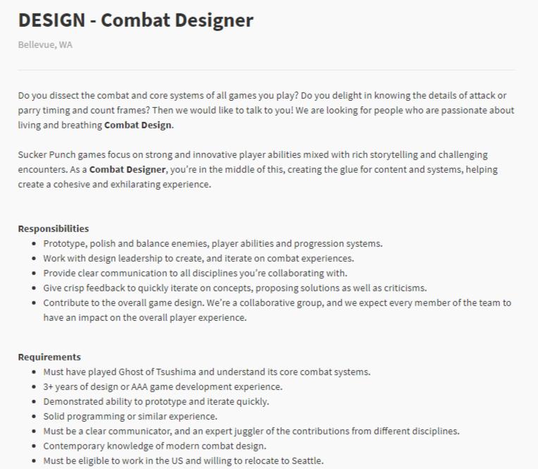 Combat Designer Job Offer