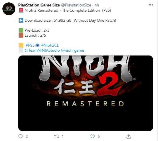 Nioh 2 Remastered Download Size