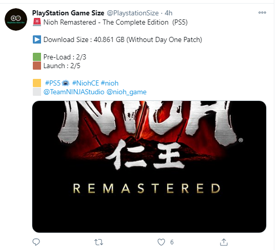 Nioh Remastered Download Size