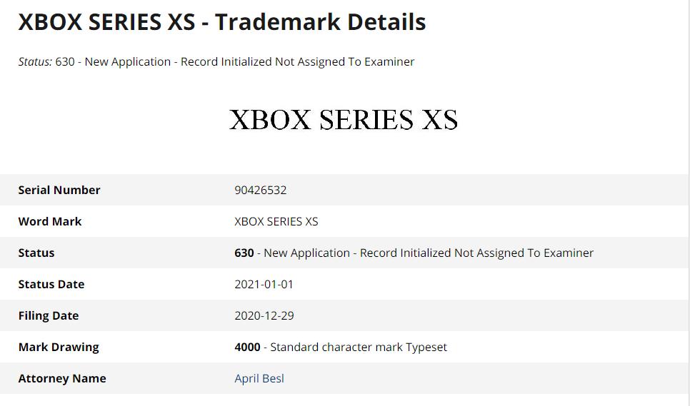 Xbox Series XS Trademark Details