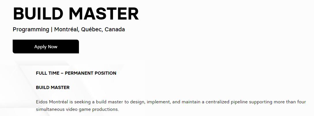 Eidos Montréal Job Listing