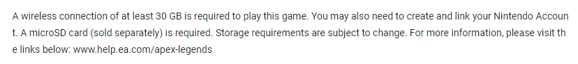 Apex Legends Switch Requirements (Translated)