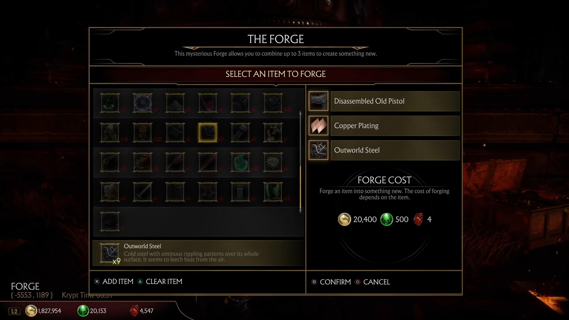 Mortal Kombat 11 Forge recipes