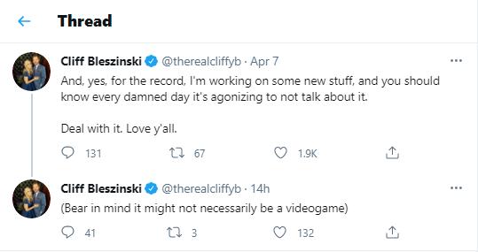 Cliff Bleszinski on Twitter