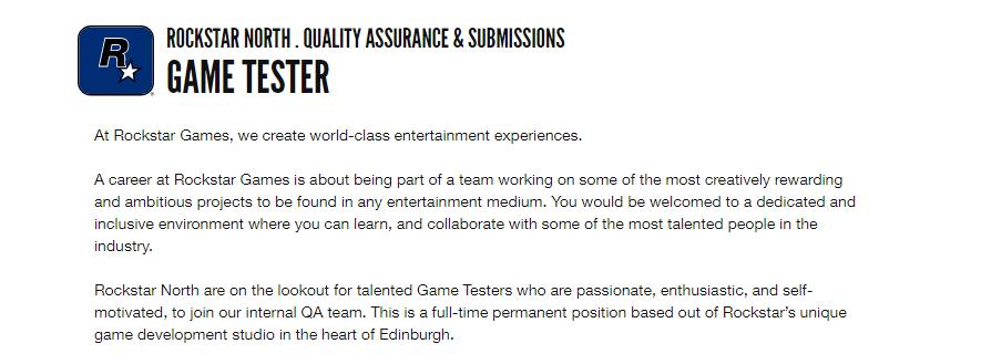 Game Tester Job at Rockstar Games Careers