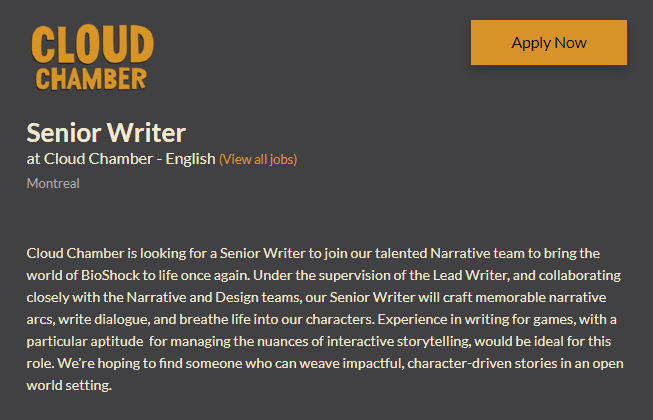 Job Application for Senior Writer at Cloud Chamber