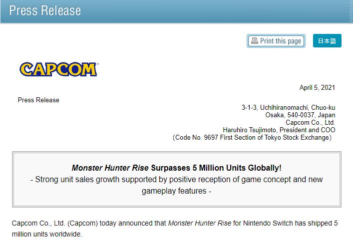 Monster Hunter Rise Surpasses 5 Million Units Globally