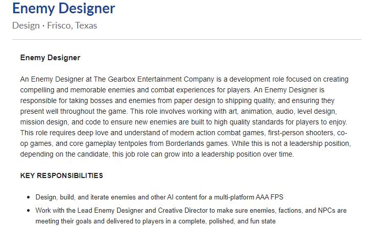 Enemy Designer Job Opening