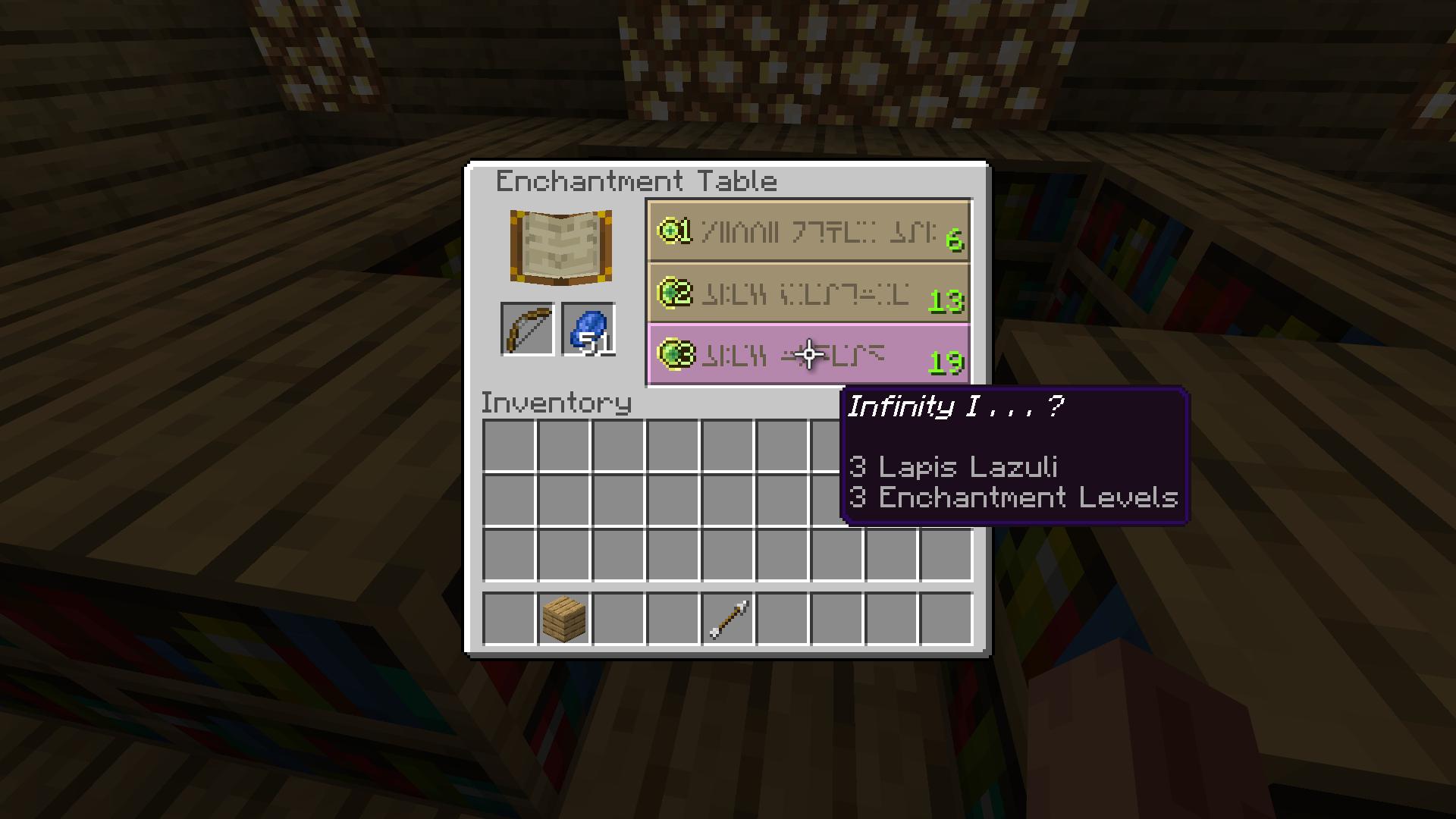 Minecraft Infinity Enchantment