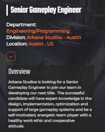 Senior Gameplay Engineer Job Opening