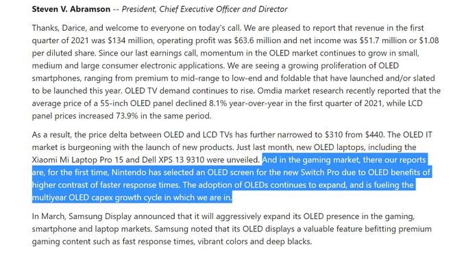 Universal Display Corp Q1 Investors Call