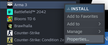 Steam Game Options.