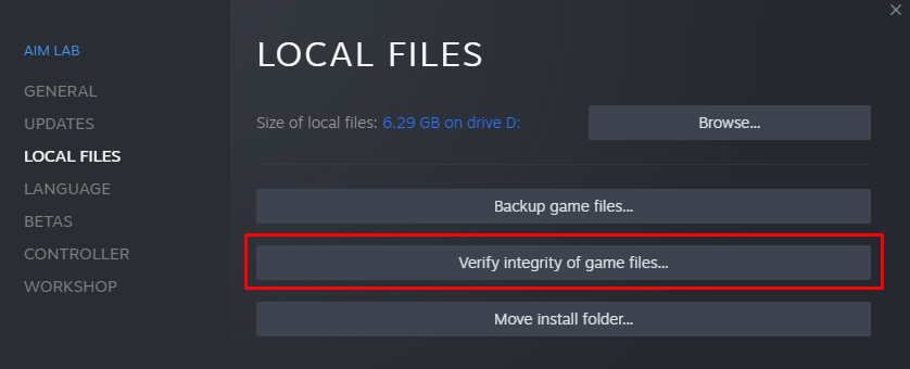Verification of Game Files.