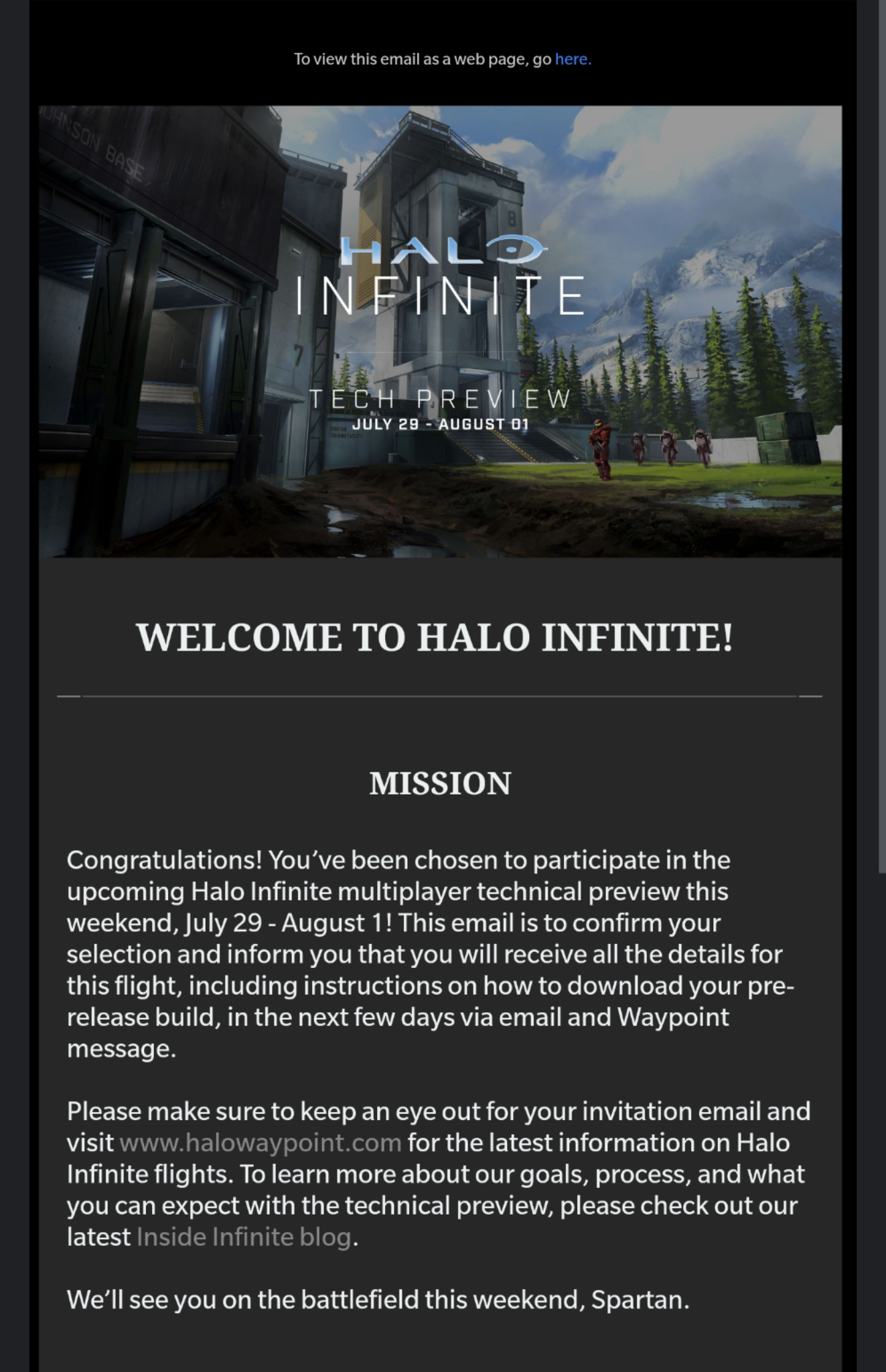 Halo Infinite Multiplayer Preview Invite Email