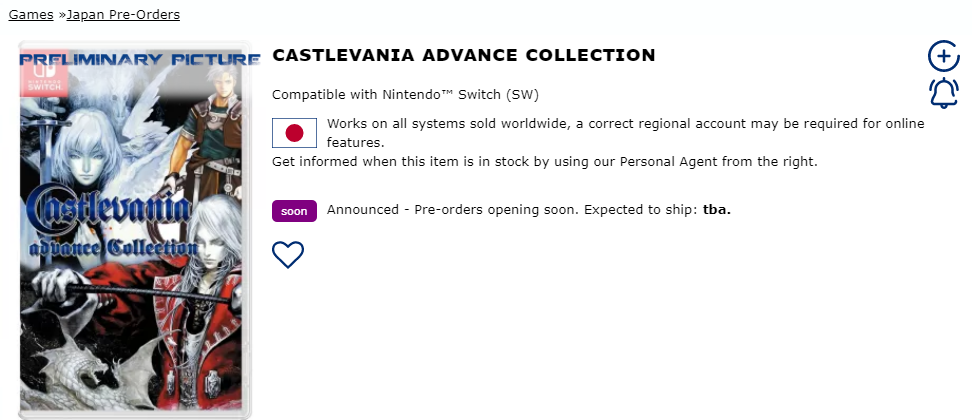 Castlevania Advance Collection on PlayAsia
