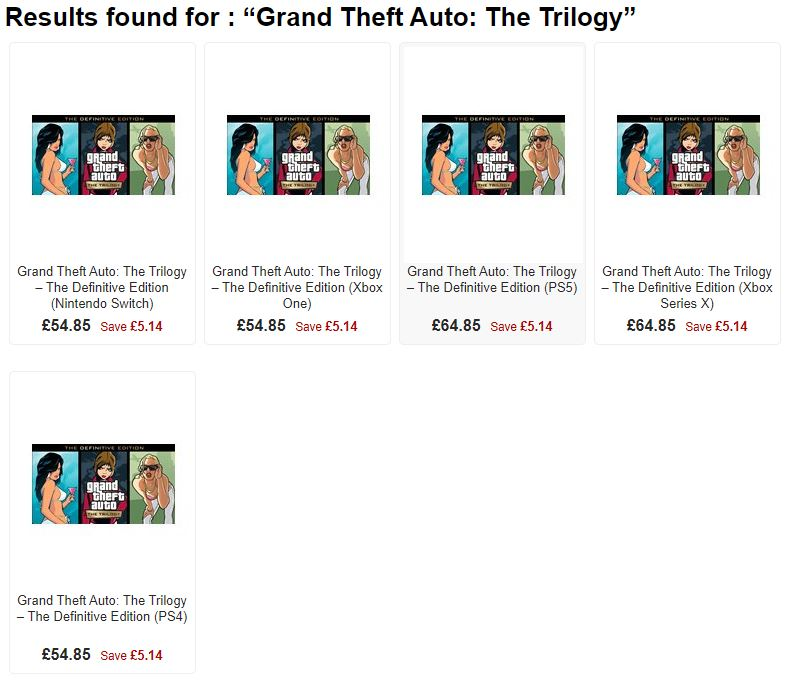 GTA Trilogy Price
